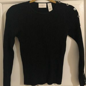 Black sweater with right arm button detail